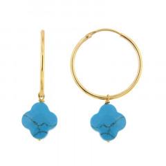 Créoles Plaqué Or OPL-GALEA TREFLE - Turquoise - L: 3cm