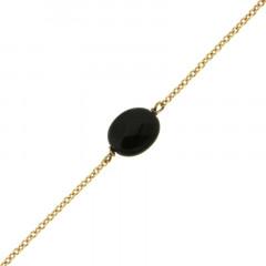 Bracelet Plaqué Or GALEA OVALE FACETTE - Onyx noir - L: 16+ 3cm