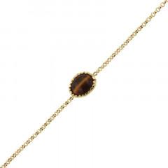 Bracelet Plaqué Or KHEOPS 8/6 Oeil de tigre 17+2cm