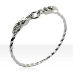 Bracelet Argent JONC VRILLE TETES ANNEAUX GM
