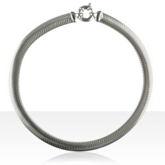 Collier Argent SERPENT PLAT 10mm 40CM