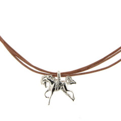Collier Argent 3 FILS CUIR/CHEVAL REVERENCE