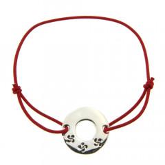 Bracelet Argent LASTIC Disque 3 CB gravées