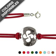 Bracelet Argent PLAQUE RONDE/CB DEC COTON CIRE DBL