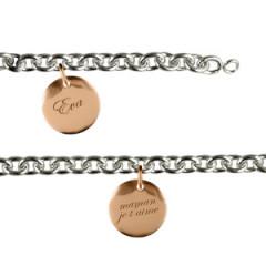 Bracelet Argent 3 Médailles 15MM à graver RHODIE/ROSE
