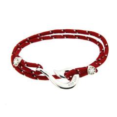 Bracelet Argent Hameçon CAP COZ  Maori double - Rouge
