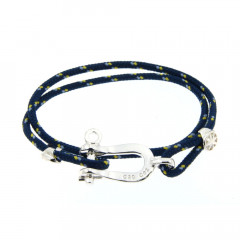 Bracelet Argent Manille CAP COZ double - bleu