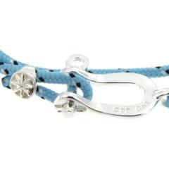 Bracelet Argent Manille CAP COZ double - bleu clair