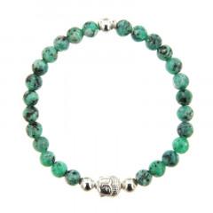 Bracelet Argent CHAKRA N°5 - LASTIC B6 Bouddha - Pierre Naturelle