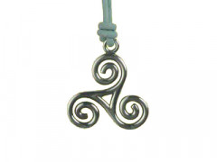 Collier Argent TRISKELL FIL 5/CUIR CIRE