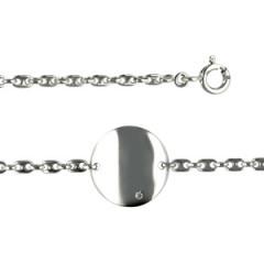 """Bracelet """"ECLAT"""" Argent 1 Diamant BB PLAQUE ROND"""