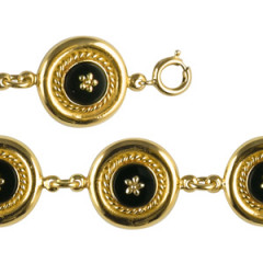 Bracelet Plaqué Or CREOLE ONYX/GM