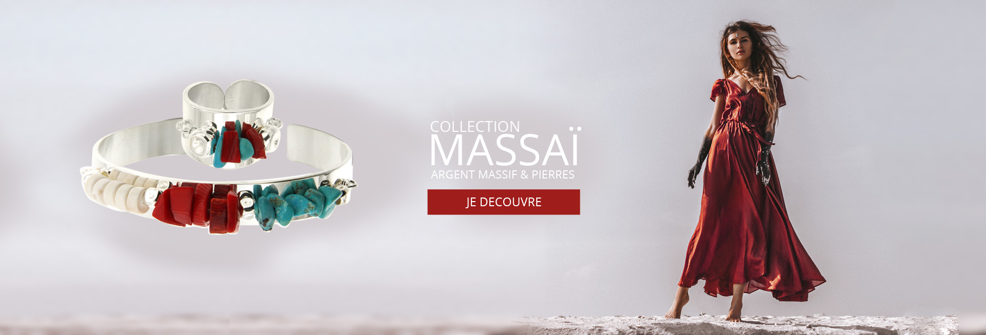 Bijoux MASSAI, nouvelle collection de bague, bracelet, jonc collier et boucles d'oreilles en Argent massif et pierres naturelles Turquoise, Rouge et Blanche